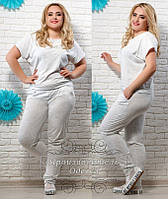 Модный женский летний молочный костюм с карманами. Арт-1239/37
