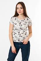 Женская футболка подросток с рисунками Микки цвет белый p.42-44 SS35-1