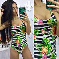 Яркий стильный женский молодежный купальник-боди с ярким принтом В20181
