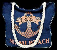 """Женская пляжная сумка из ткани """"Якорь"""" синего цвета WUU-100100"""