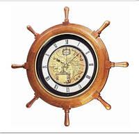 Часы настенные из дерева - карта- штурвал-( бой)- JAPAN