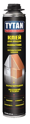 Tytan Professional Клей для кладки газобетона и керамических блоков 750 мл / Tytan Professinal EURO Клей
