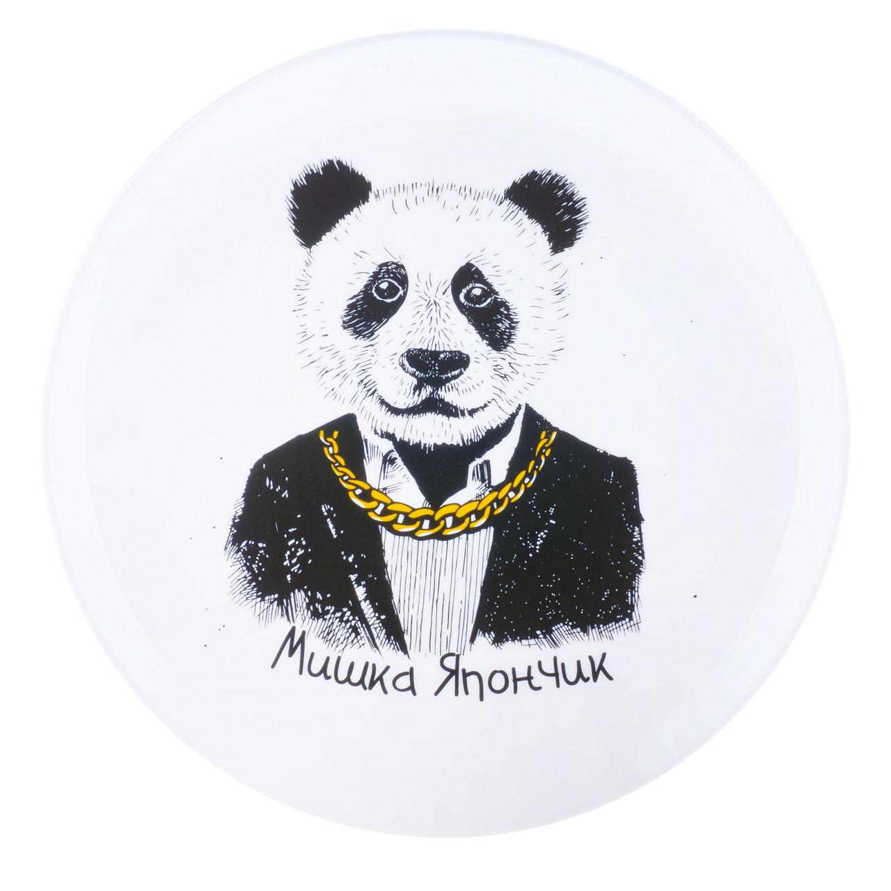 """Тарелка стеклокерамика с принтом панда """"Мишка Япончик"""""""