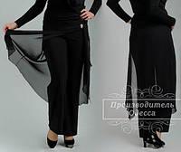 Чёрные женские брюки с фтиновой накидкой больших размеров.  Арт-1304/37