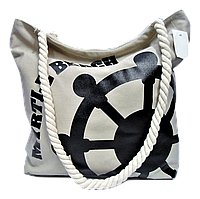 Женская пляжная сумка из ткани бежевого цвета WUU-100101, фото 1