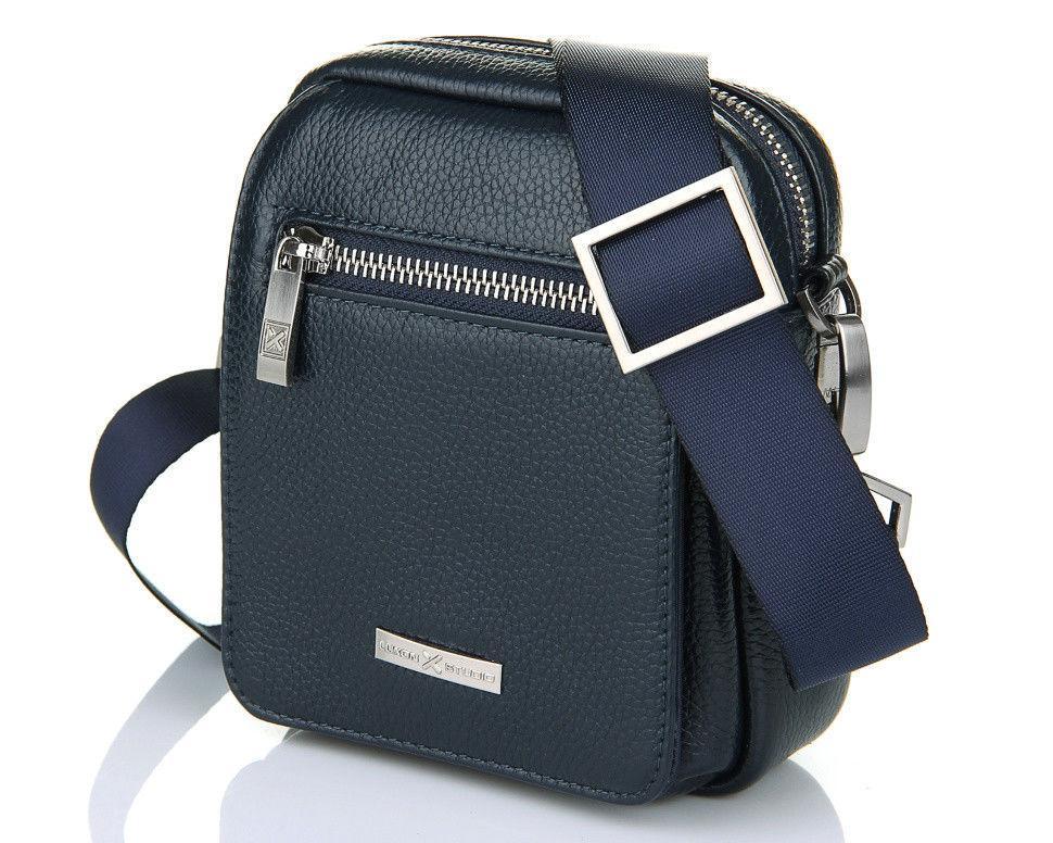 Небольшая кожаная сумка синего цвета Luxon 89037-1