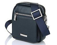 Небольшая кожаная сумка синего цвета Luxon