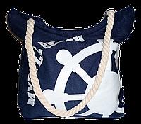 Женская пляжная сумка из ткани синего цвета WUU-100102