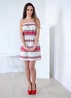 Стильное вышитое красной нитью платье без бретелей