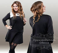Женская модная черная кофта батал с вставкой белой экокожи. Арт-1246/37
