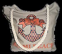 """Женская пляжная сумка из ткани бежевого цвета """"Якорь"""" WUU-100103, фото 1"""