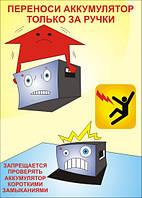 Плакат «Переноси аккумулятор только за ручки. Запрещается проверять аккумулятор коротким замыканием.»