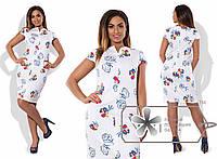 Платье женское батал 57- белое в цветах