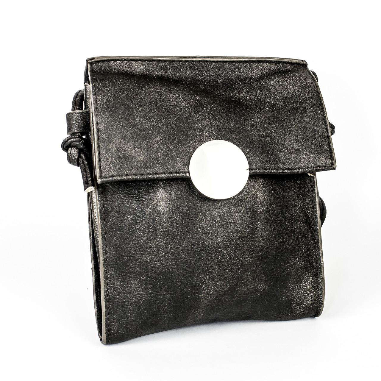 Черная сумочка из эко-кожи с плечевым ремешком