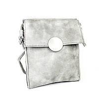 Серая сумочка из эко-кожи с плечевым ремешком