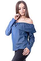 Женский джинсовый топ с длинным рукавом, фото 1