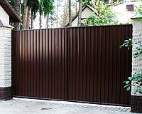 Распашные ворота из профнастила 2,8м*2м