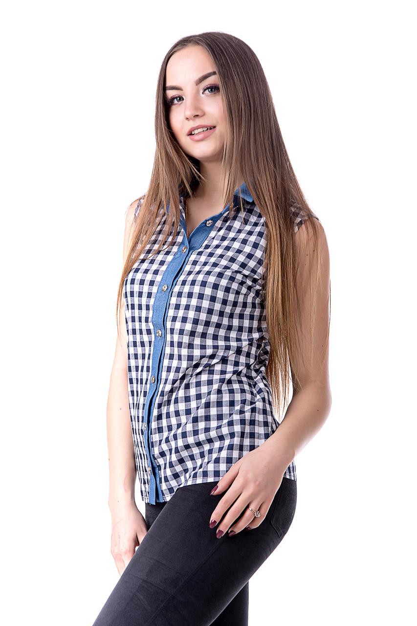 Рубашка женская в клетку без рукавов