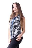 Рубашка женская в клетку без рукавов , фото 1