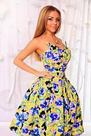 Шикарное платье в цветочный принт. Юбка на фатине. В комплекте декоративный кулон. Фурнитура может меняться.