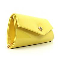 Желтый маленький лаковый вечерний клатч