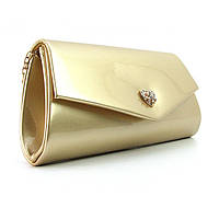 Золотистая лаковая сумочка клатч на цепочке