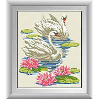 """Набор алмазной живописи """"Лебеди в пруду"""""""