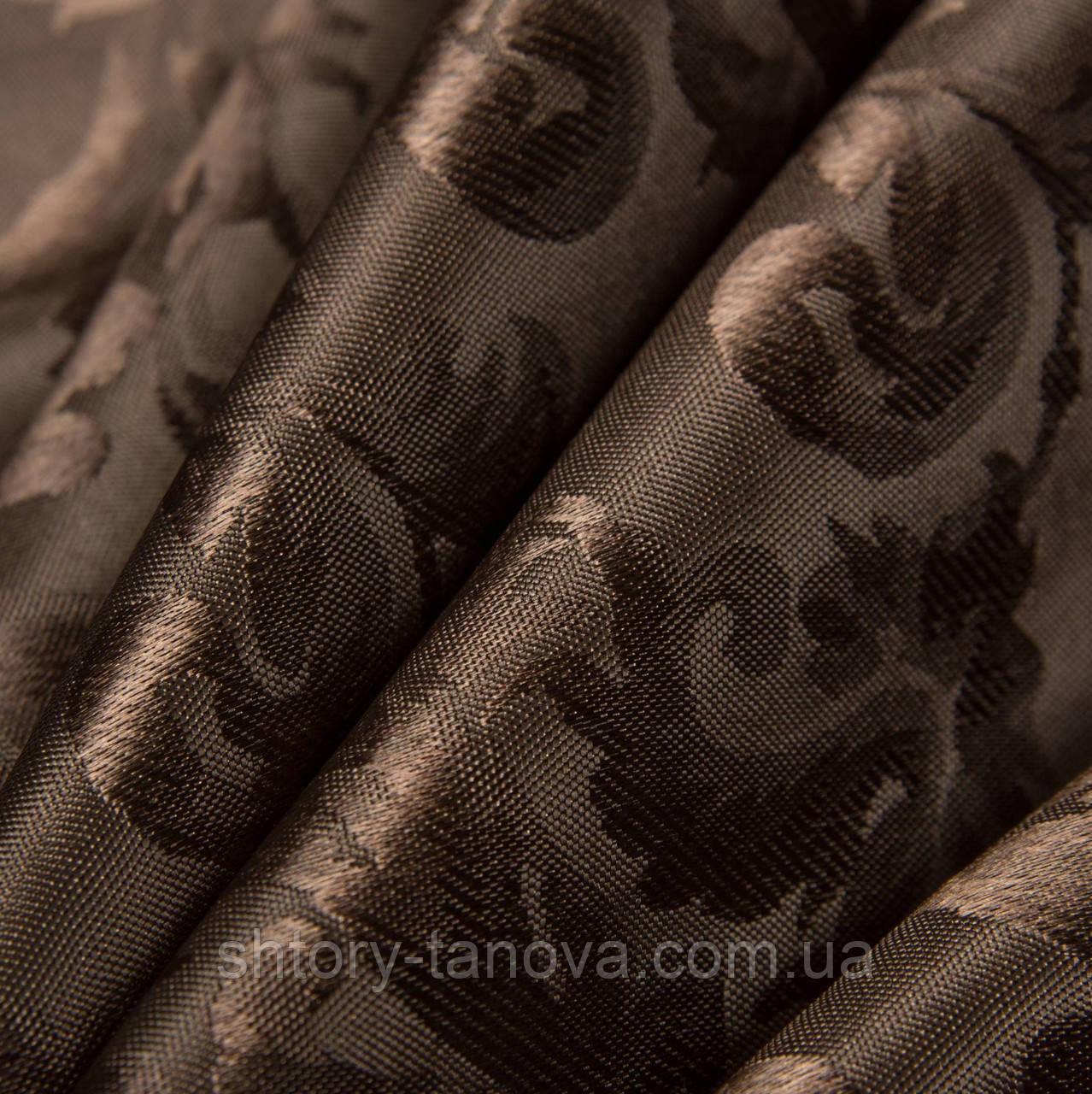 Жаккард алан вязь коричневый