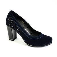 Замшевые синие женские туфли на устойчивом высоком каблуке. , фото 1