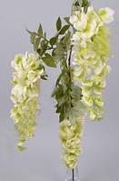 Вистерия на три ветки свисающая салатовая 100 см Цветы искусственные