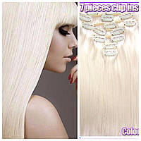 Волосы на заколках цвет №60 платиновый блонд