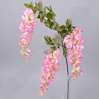 Вистерия на три ветки свисающая розовая 100 см Цветы искусственные