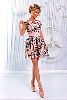 """Элегантное платье. В комплекте подъюбник из фатина и габардиновый пояс. Принт """"цветы""""."""