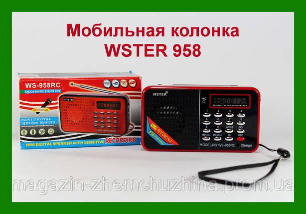 "Компактная портативная колонка блютуз, USB, CardReader, pадио WSTER"" SPS WS 958, фото 2"