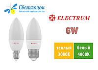 Светодиодная лампа свеча Е14/Е27 6W Electrum LC-32