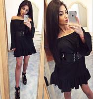 """Стильное молодежное платье мини """" Пояс экокожа """" Dress Code"""