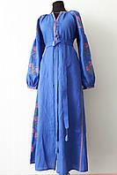 """Длинное платье вышиванка """"цветы"""" синее, вышивка розовая"""