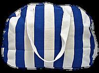 Пляжная женская сумка из ткани синяя полоска WUU-300105
