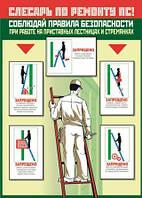 Плакат «Соблюдай правила безопасности при работе на приставных лестницах и стремянках»