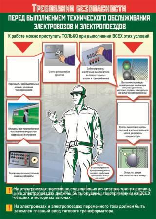 Плакат «ТБ перед выполнением технического обслуживания электровозов и электропоездов»