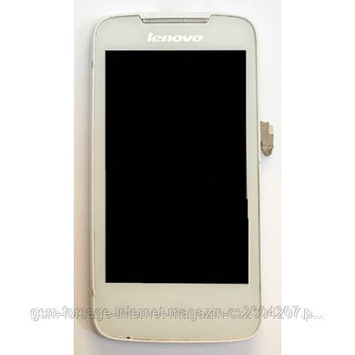Дисплей Lenovo A390 complete with touch (6 pin) and frame White
