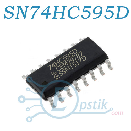 SN74HC595D (74HC595), 8-и битный сдвиговый регистр, SOP-16