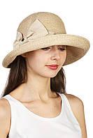 Шляпая мягкая с украшением в виде банта бежевая