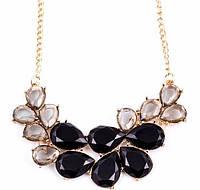 Ожерелье Капли черное/бижутерия/цвет цепочки золото