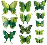 Бабочки для декора двойные 12 шт., зеленые