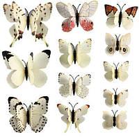 Бабочки для декора двойные 12 шт., белые