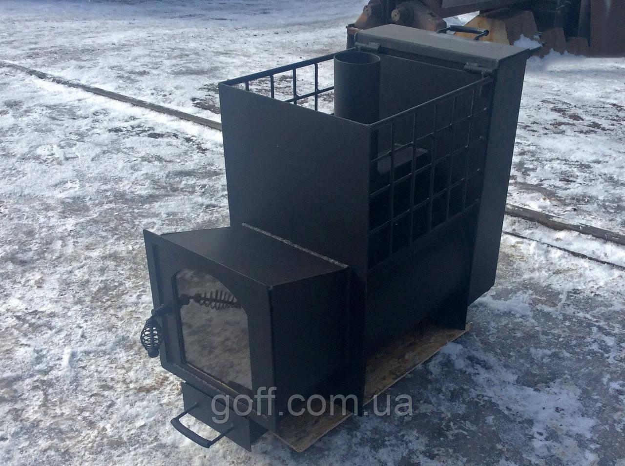 Банная печь с панорамным окном и баком для воды 50 литров