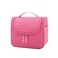 Большая вместительная дорожная косметичка, органайзер, несессер в отпуск, дорогу, командировку, розовая