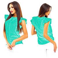 Женская блузка без рукавов в горошек