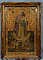 Киот фигурный из ольхи для старинной иконы большого формата с внутренней деревянной рамой.